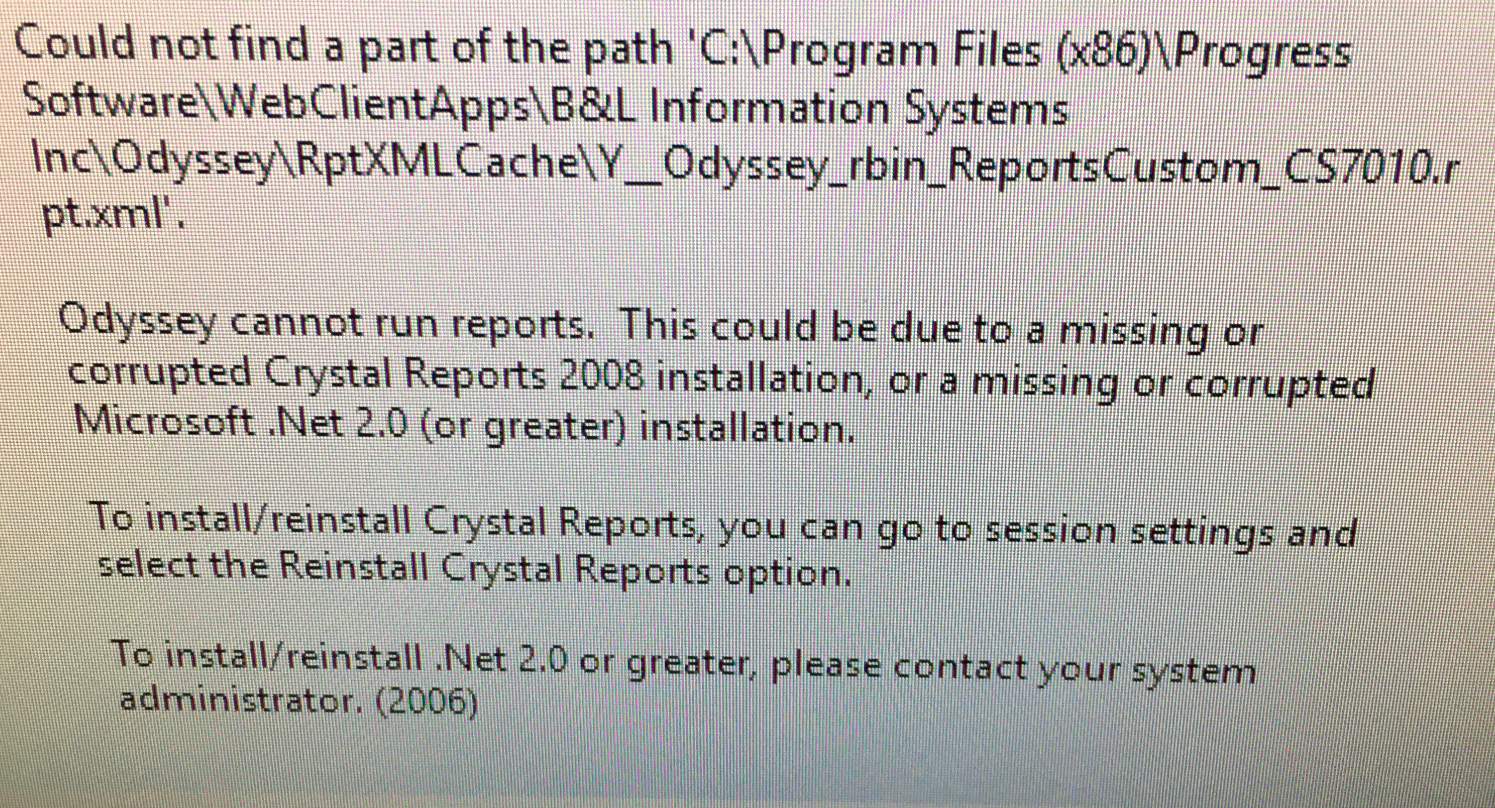 Odyssey - Crystal Reports Issues – Bremen Castings